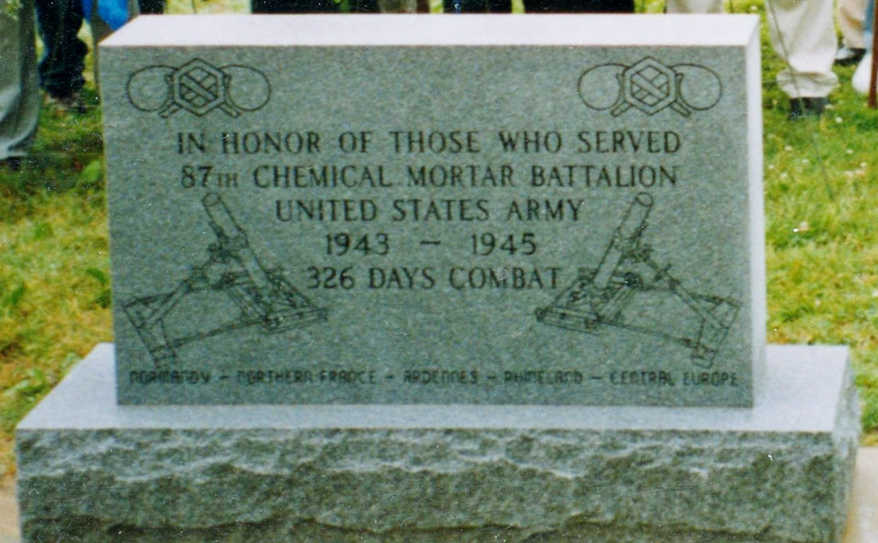 Memorial at Edgewood to 87th Chemical Mortar Bn