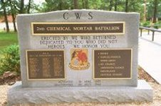 Memorial to 2nd Cml Mortar Bn (WWII) – click to enlarge